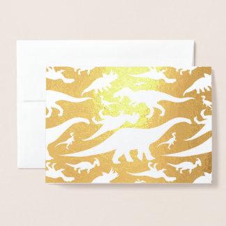 Tarjeta Con Relieve Metalizado Modelo colorido del dinosaurio (luz)