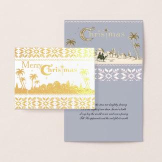 Tarjeta Con Relieve Metalizado Natividad santa religiosa del navidad de Jerusalén