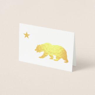 Tarjeta Con Relieve Metalizado Navidad de oro de California