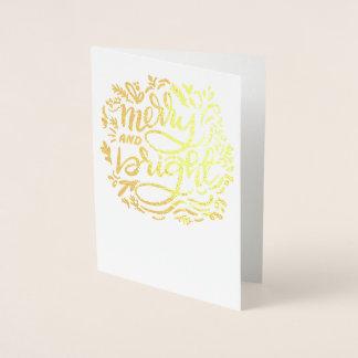Tarjeta Con Relieve Metalizado Navidad Felices y brillantes Handlettered de oro