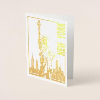 Tarjeta Con Relieve Metalizado Nueva York-Estatua de la libertad