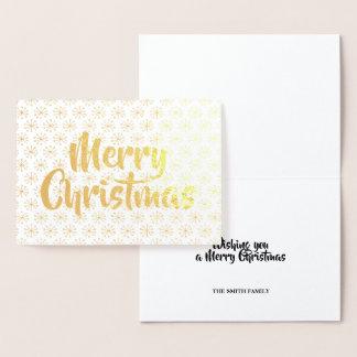 Tarjeta Con Relieve Metalizado Oro de las Felices Navidad