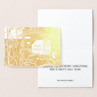 Tarjeta Con Relieve Metalizado Oro del circuito