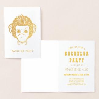 Tarjeta Con Relieve Metalizado oro del mono del señor de la despedida de soltero