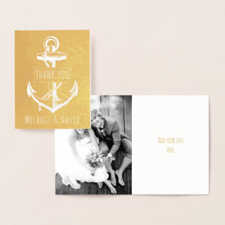 Tarjeta Con Relieve Metalizado Oro náutico del boda del ancla blanca del vintage