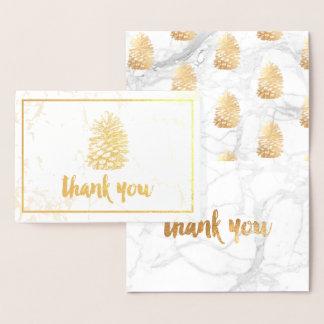 Tarjeta Con Relieve Metalizado Oro Pinecone de PixDezines+El mármol le agradece