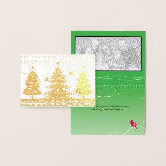 Tarjeta Con Relieve Metalizado Pájaros y copos de nieve de encargo de los árboles