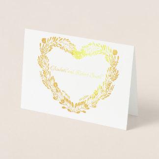 Tarjeta Con Relieve Metalizado Pares casados guirnalda real del corazón del