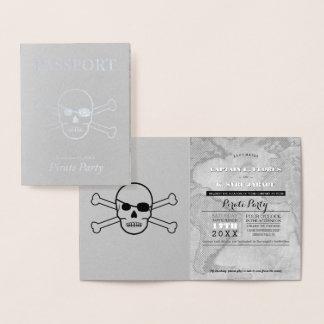 Tarjeta Con Relieve Metalizado Pasaporte del efecto metalizado de plata del