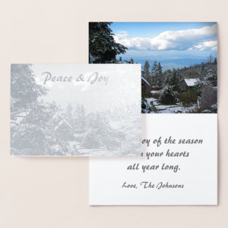 Tarjeta Con Relieve Metalizado Paz y alegría reales Mt. LeConte del día de fiesta