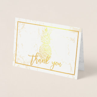 Tarjeta Con Relieve Metalizado Piña del oro de PixDezines+El mármol le agradece