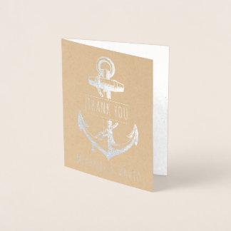 Tarjeta Con Relieve Metalizado Plata náutica del boda del ancla del vintage