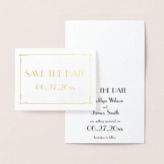 Tarjeta Con Relieve Metalizado Reserva real del boda del efecto metalizado de oro