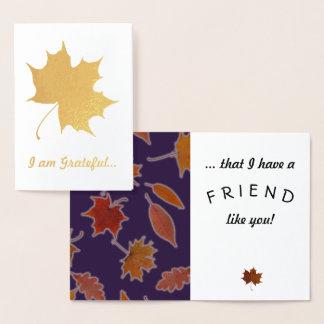 Tarjeta Con Relieve Metalizado Texto agradecido del personalizado de las hojas de