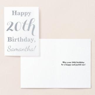 Tarjeta Con Relieve Metalizado Vigésimo cumpleaños simple del efecto metalizado