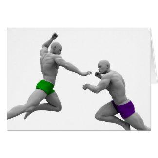 Tarjeta Concepto de los artes marciales para luchar y la