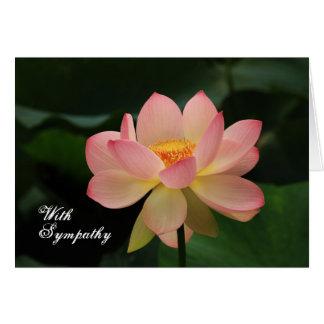 Tarjeta Condolencia budista floral rosada única de Lotus