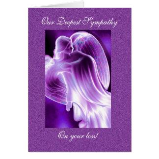 Tarjeta Condolencia púrpura del ángel