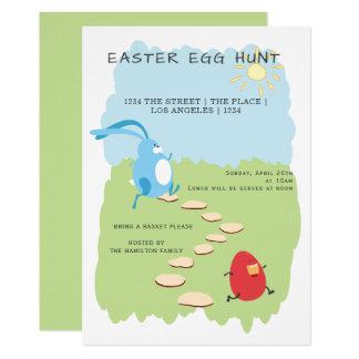 Tarjeta Conejito y huevo de la caza del huevo de Pascua
