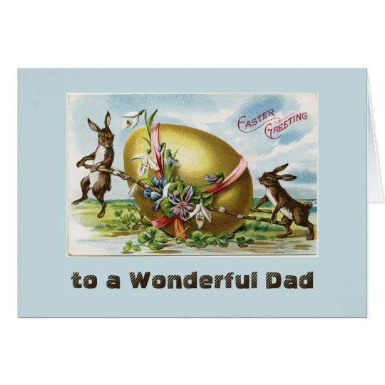 Tarjeta Conejitos del vintage y azul del papá del huevo de