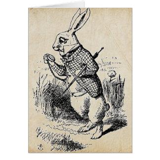 Tarjeta Conejo del blanco del vintage