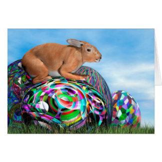 Tarjeta Conejo en su huevo colorido para Pascua - 3D