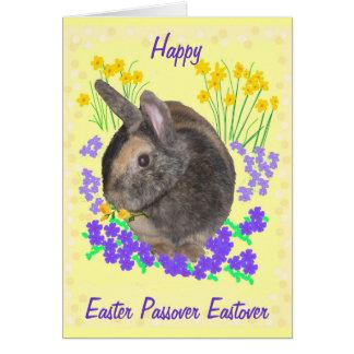 Tarjeta Conejo y flores lindos Pascua, Passover, Eastover