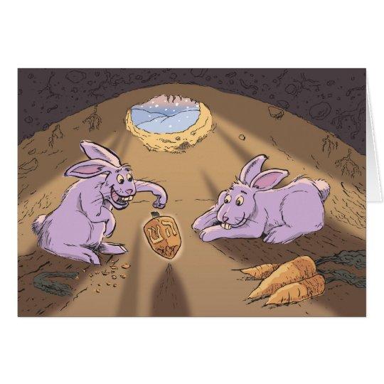Tarjeta conejos y dreidel hora