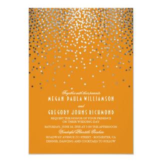 Tarjeta Confeti de plata - boda anaranjado de las luces