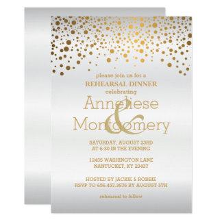 Tarjeta Confeti elegante del oro y cena blanca del ensayo