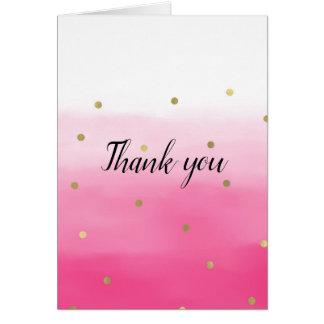 Tarjeta Confeti rosado Ombre del oro de la acuarela