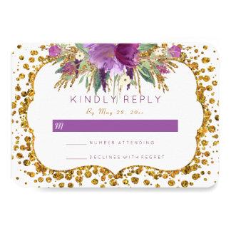 Tarjeta Confeti RSVP del brillo del oro de las flores de