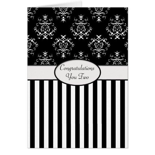 Tarjeta Congrats barroco rayado negro y blanco