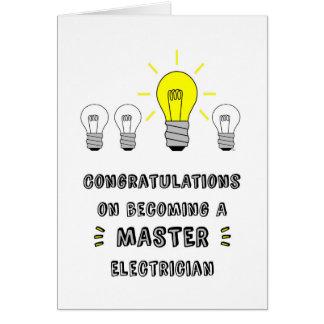 Tarjeta Congrats en hacer un electricista principal
