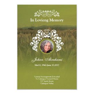 Tarjeta conmemorativa fúnebre del rezo invitación 8,9 x 12,7 cm