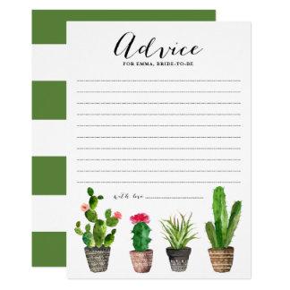 Tarjeta Consejo de los Succulents de la acuarela de Boho
