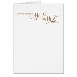 Tarjeta Consejo del boda para Sr. y la señora fuente del