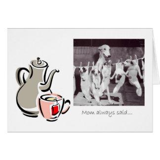 Tarjeta Consejo del té de una mamá del galgo