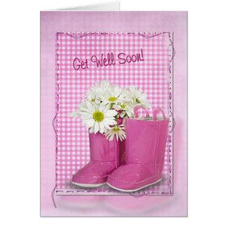 Tarjeta Consiga las botas y las margaritas pronto rosadas