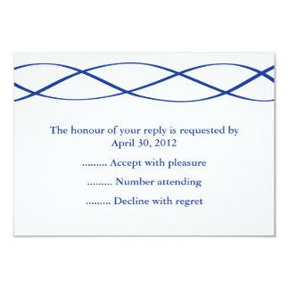 Tarjeta Contestación azul y blanca del acontecimiento,