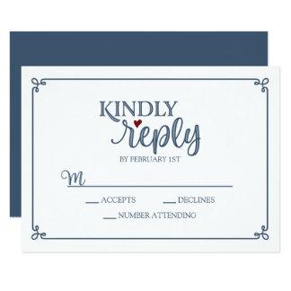 Tarjeta Contestación bondadosa - azul polvoriento y rojo -