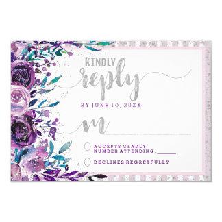 Tarjeta Contestación púrpura RSVP de la bodas de plata