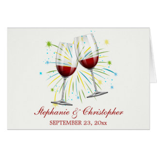 Tarjeta Copas de vino rojas de Borgoña que se casan,