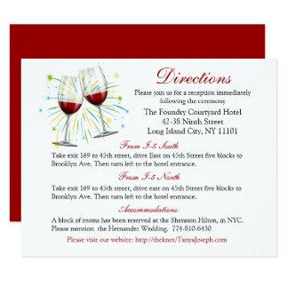 Tarjeta Copas de vino rojas de las direcciones del boda de