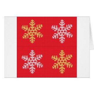 Tarjeta Copo de nieve hecho punto rojo
