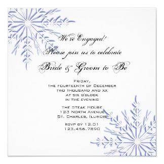 Tarjeta Copos de nieve azules en el fiesta de compromiso