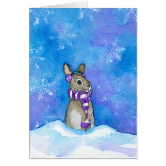 Tarjeta Copos de nieve del conejo del invierno por Bihrle