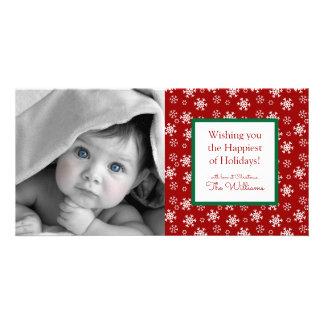 Tarjeta Copos de nieve del rojo de las Felices Navidad el