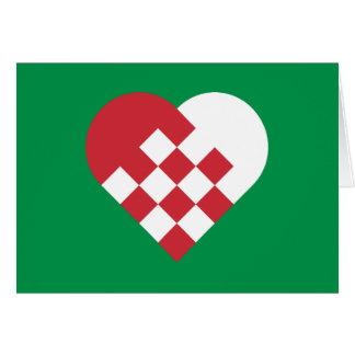 Tarjeta Corazón danés blanco rojo