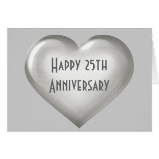 Tarjeta Corazón de cristal de plata del 25to aniversario